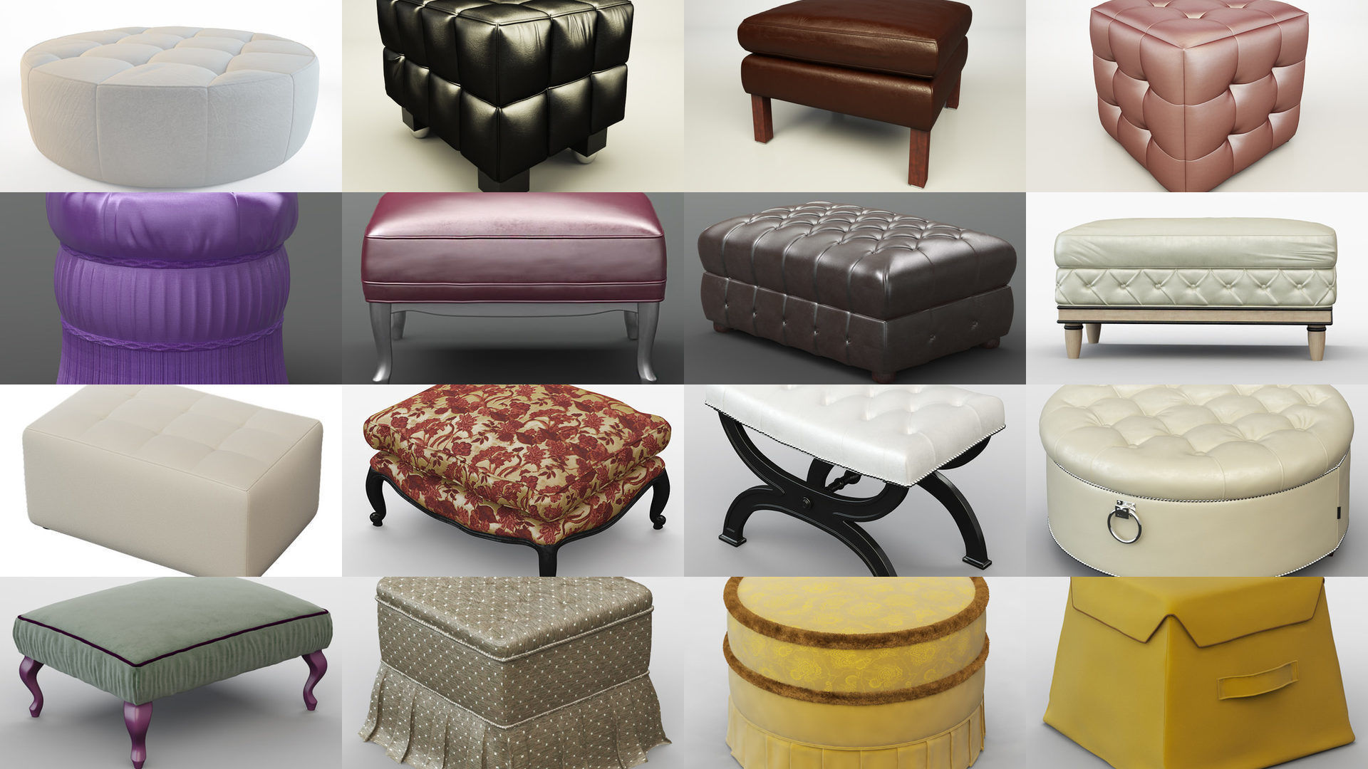 Collection  different types poufs for your projects 95 models