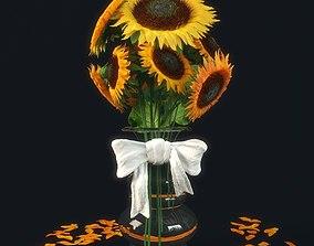 3D model sunflower flora