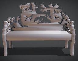 Unique Long Chair Ornament with Koala 3D printable model 1