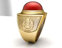 3D print model 787 God of wealth Ruby Men Ring