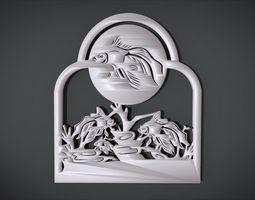 Unique Window Ornament with Fish 3D printable model 1