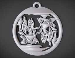 Wall decoration with Fish motif 3D print model