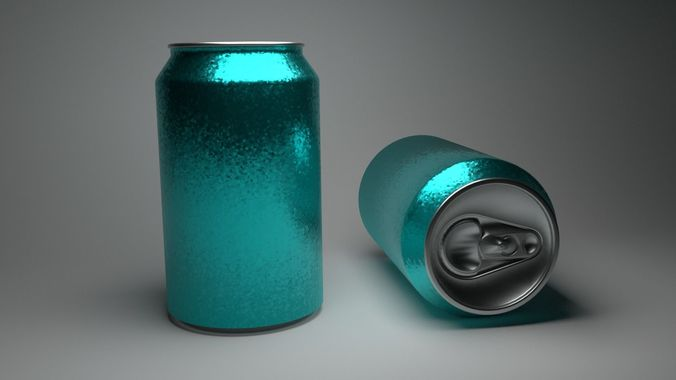 soda can with pbr texture 3d model low-poly obj mtl 3ds fbx stl dae x3d 1