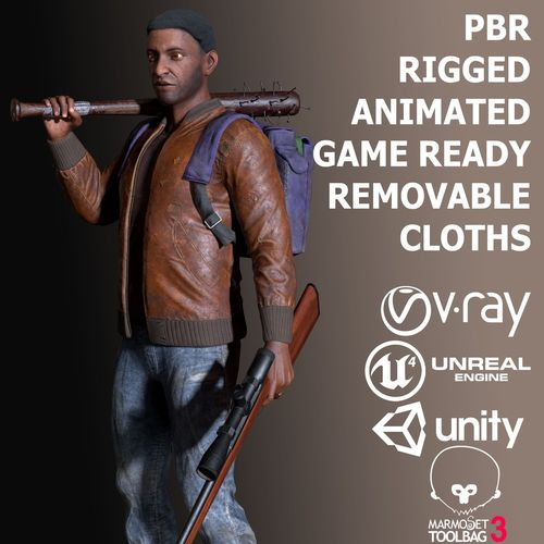 black skin male survivor 3d model low-poly rigged animated max obj mtl fbx unitypackage prefab 1
