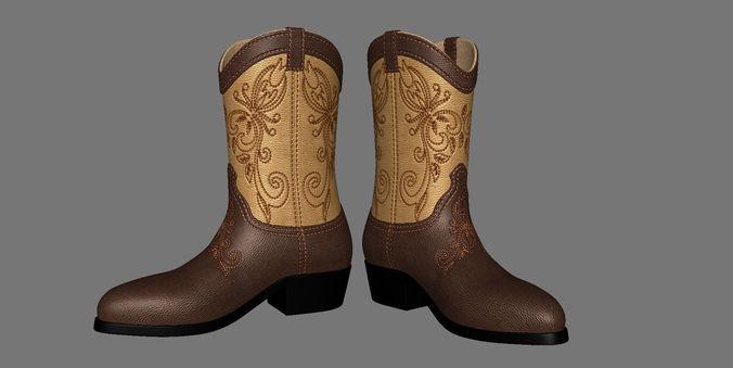 men boots 3d model obj mtl fbx ma mb 1