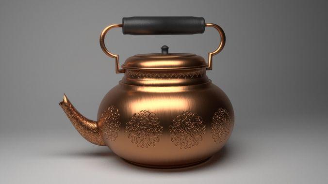 teapot - kettle 4k pbr decorative 3d model low-poly obj mtl 3ds fbx stl blend dae 1