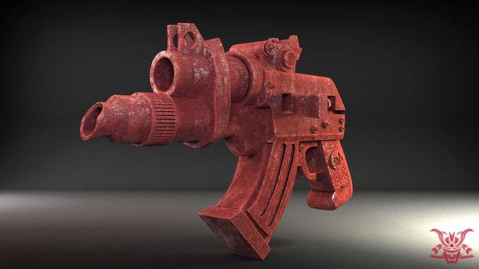 stylized handgun 3d model obj mtl 1