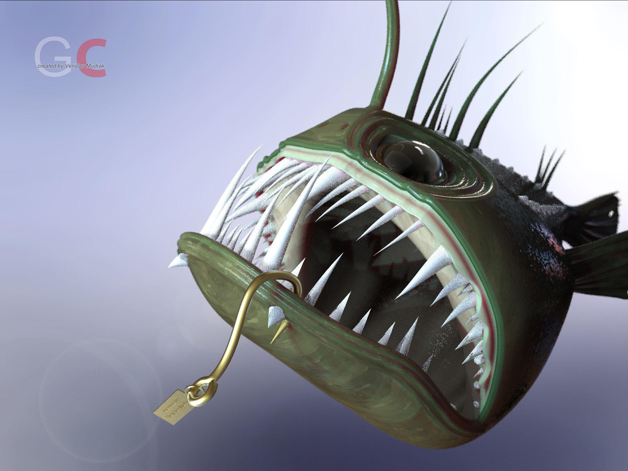 Angler fish angus free 3d model stl sldprt sldasm slddrw for Angler fish for sale
