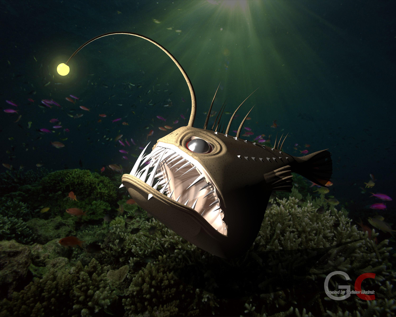 3d angler fish angus cgtrader