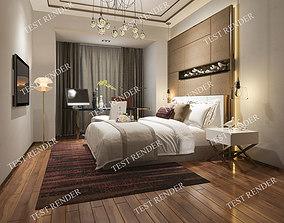 3d modern luxury modern bedroom suite in hotel with 1
