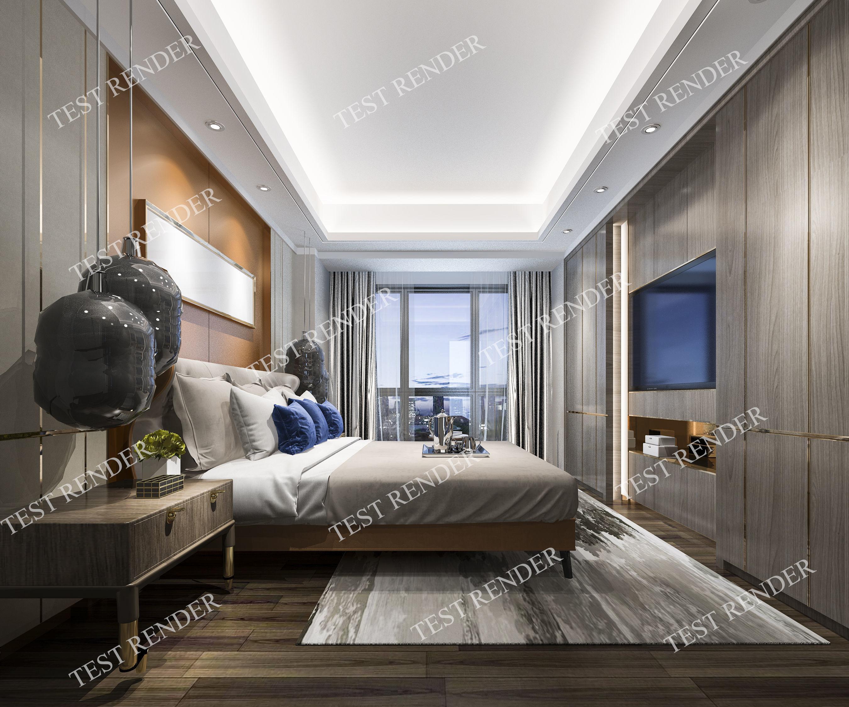 3d model luxury modern bedroom suite in hotel