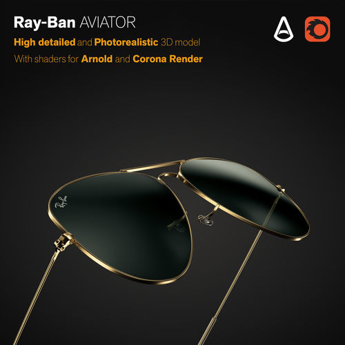b47c25ae3d Ray-Ban Aviator sunglasses 3D model fashion-and-beauty