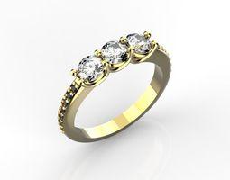3D printable model Engagement ring 4 mm stones