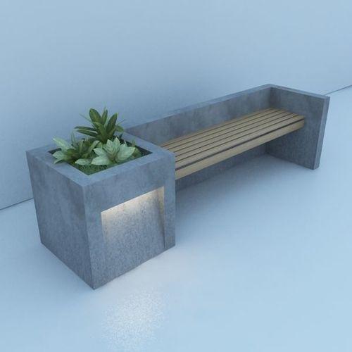 . Modern Bench Street and Garden   3D model