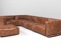 3D model Leather Corner Sofa
