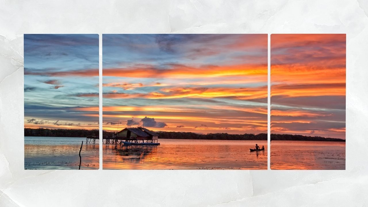 Triptych Wall Art Panoramic Lagoon Sunset