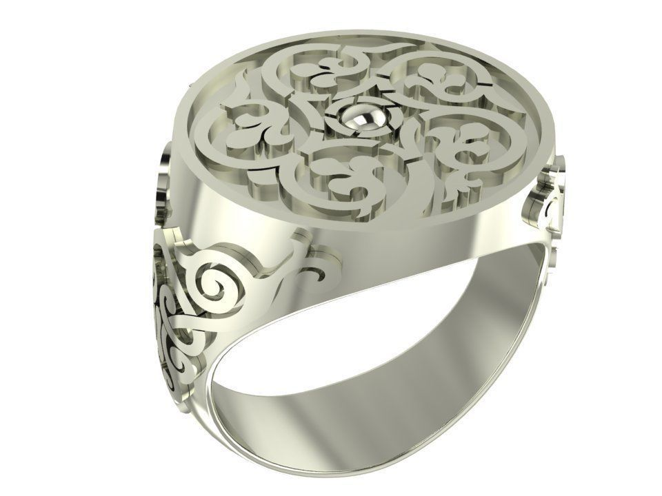 Old style circle signet male ring