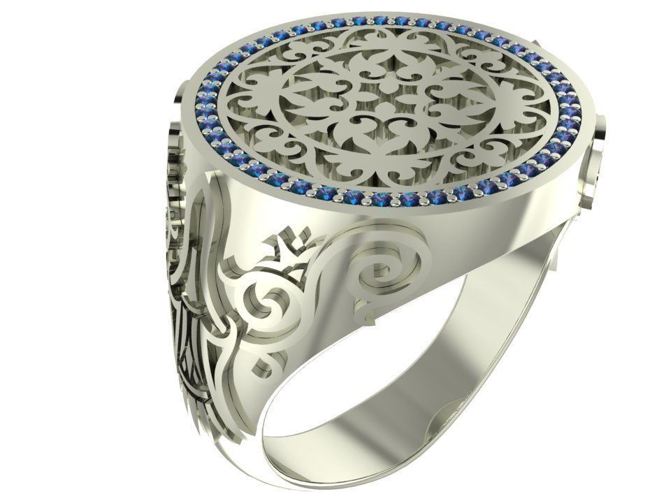 Signet ring with gems