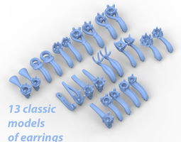clother Pack of 13 classic earrings 3D print model