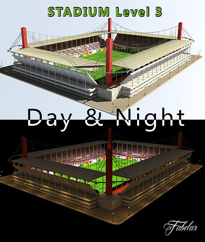 Stadium Lights C4d: 3D Model Stadium Level 3 Day-Night