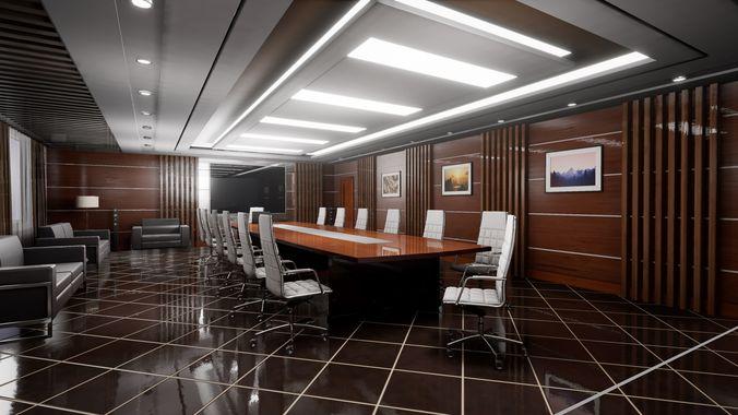 hq archviz conference room 3d model fbx tga unitypackage prefab uasset 1