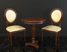 Classic Table Chair Set 3D model