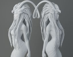 HD Horns headdress girl 005 3D print model