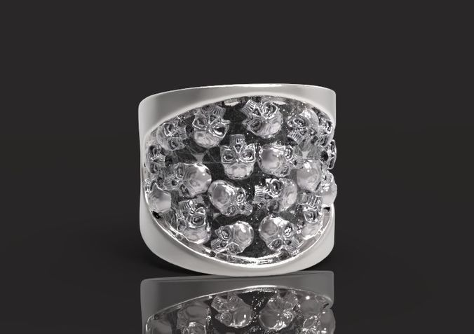 ring with skulls 3d model obj mtl stl 3dm 1
