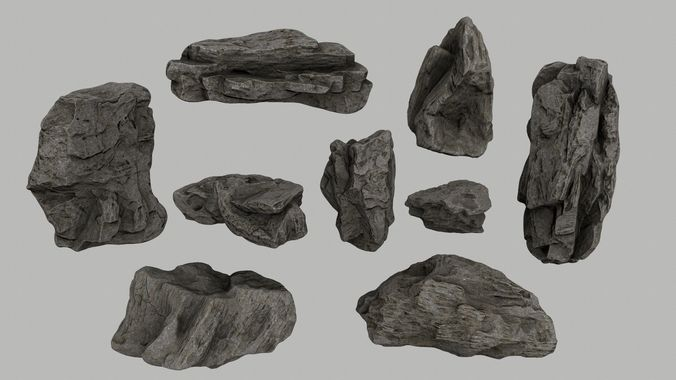 cliff rocks 3d model low-poly obj mtl fbx blend 1