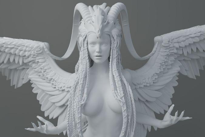 hd horns headdress girl 003 3d model stl 1