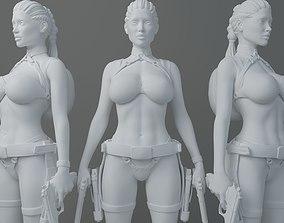 3D printable model HD Double gun female warrior