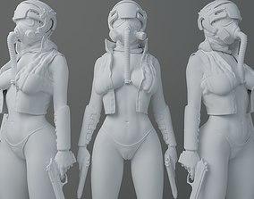 HD Gas mask gunner girl 3D printable model