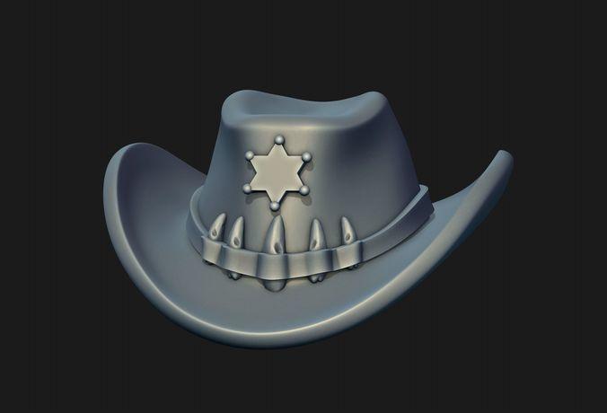 sheriff hat 3d model obj mtl fbx stl blend 1
