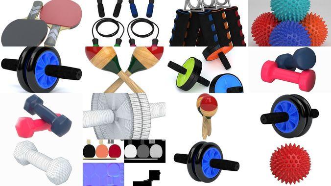 collection sport equipment 3d model max obj mtl 3ds fbx c4d stl 1