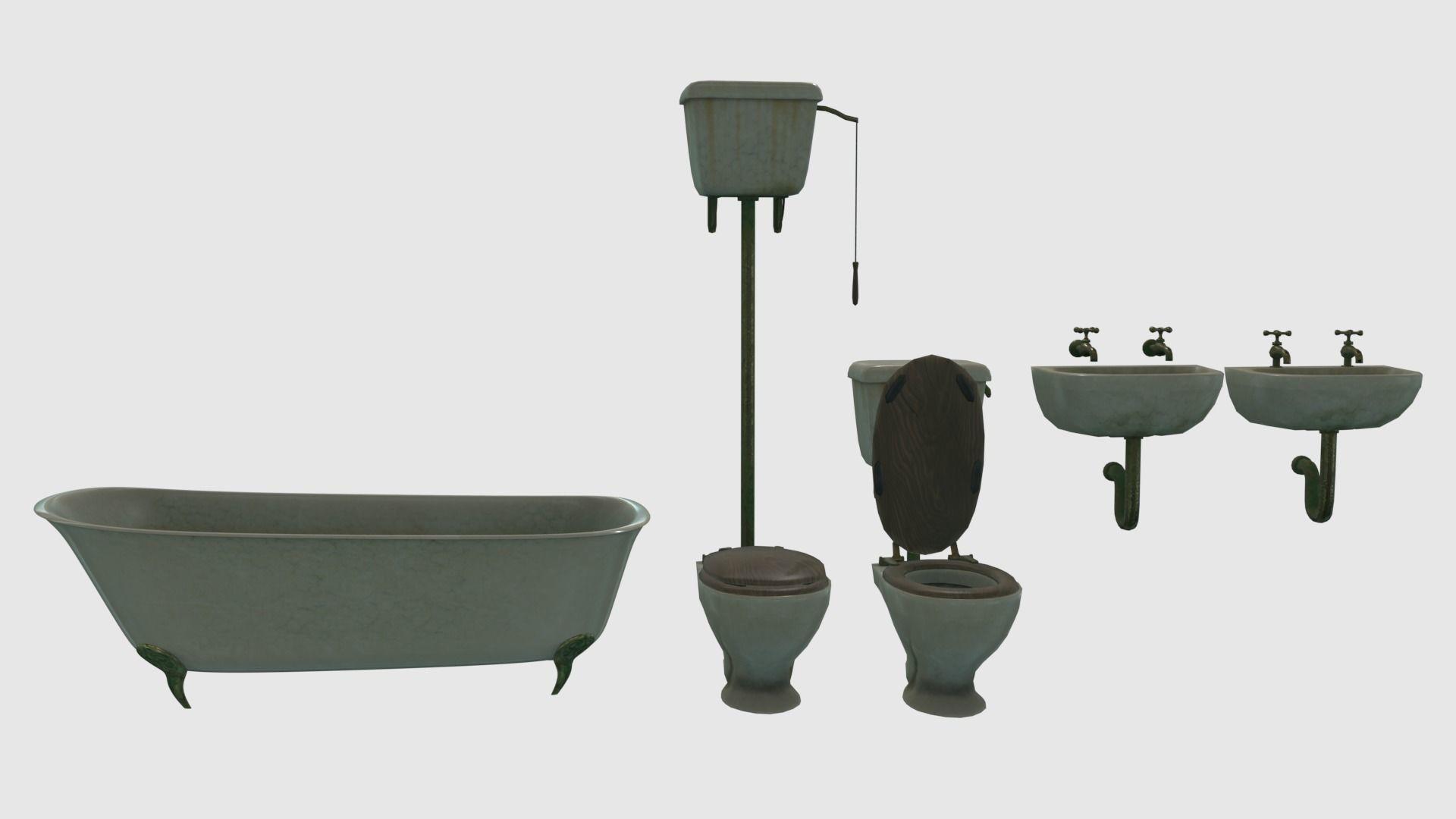 Low Poly Victorian Bathroom Fixtures