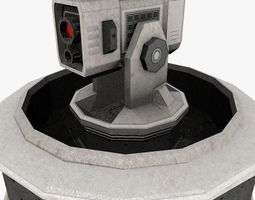 3D model Low poly Sci-fi Cannon Turret
