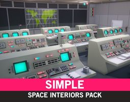 game-ready Simple Space Interiors - Cartoon Assets