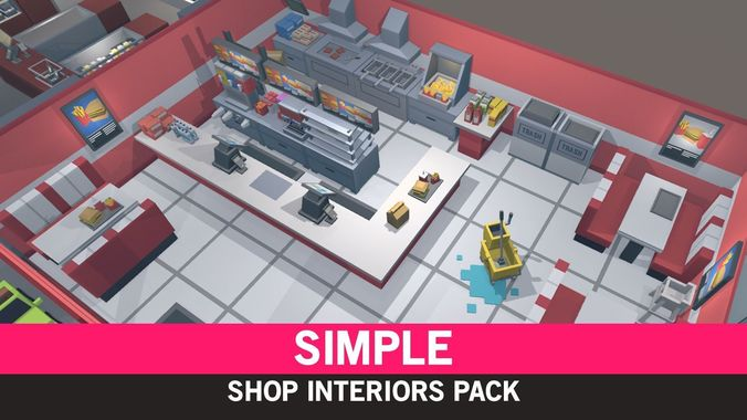 simple shop interiors - cartoon assets 3d model low-poly obj mtl fbx ma mb unitypackage prefab mat uasset 1