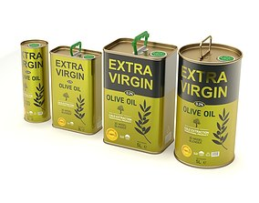 3D Olive Oil Can Set
