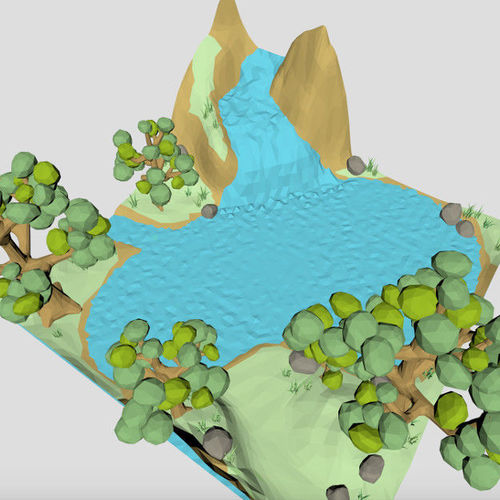 low poly waterfall spring 3d model for cartoon or game  3d model low-poly obj mtl 3ds fbx x3d 1