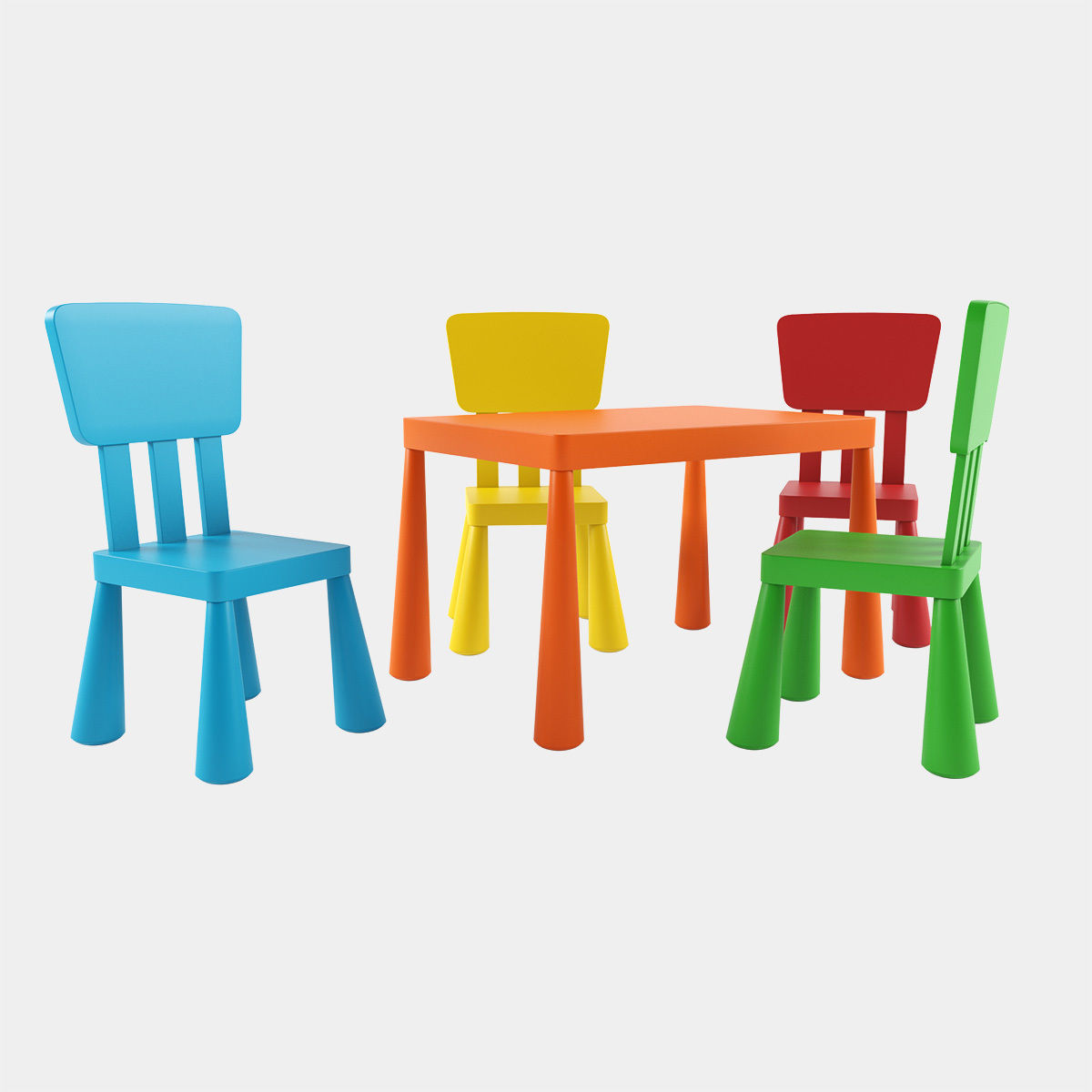 Ikea Mammut Table And Chairs Cgtrader
