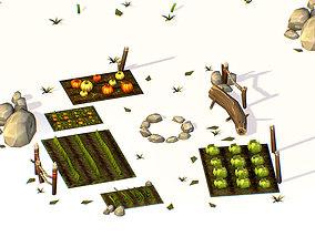 Handpaint Cartoon Garden grounds Place 3D model
