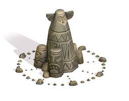 3D model Handpaint Cartoon Stone Memorial Totem Symbol