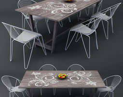 apple 3D model modern dining table chairs set