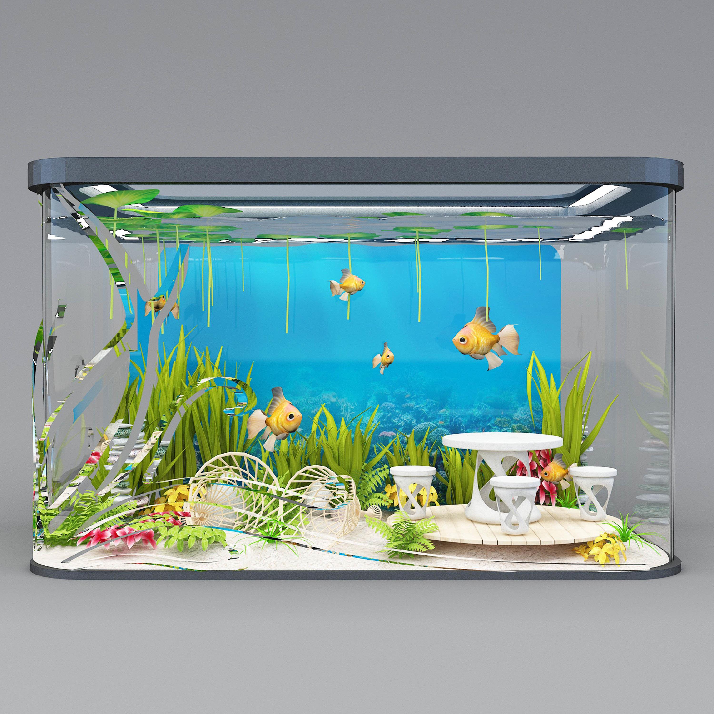Nieuw modern aquarium 3D model MAX OBJ MTL 3DS FBX STL ABC QB-72
