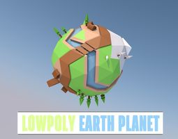 3d model realtime lowpoly earth planet